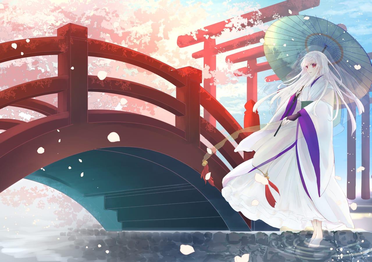 桜吹雪 Illust of 花鳥 April2021_Flower 和風ファンタジー 和傘 女の子イラスト original sakura 白髪少女