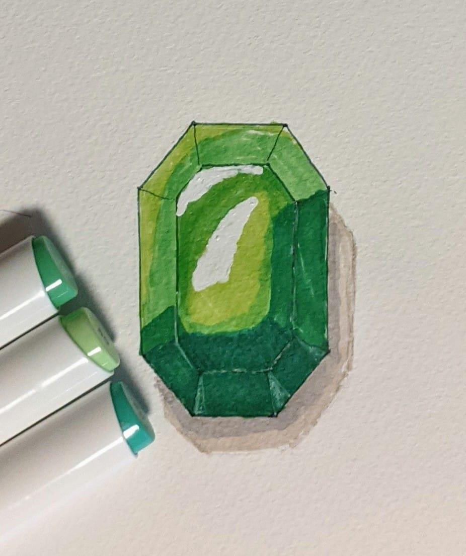 宝石練習 Illust of ゆじゅ。 illustration アナログ green 宝石 エメラルド