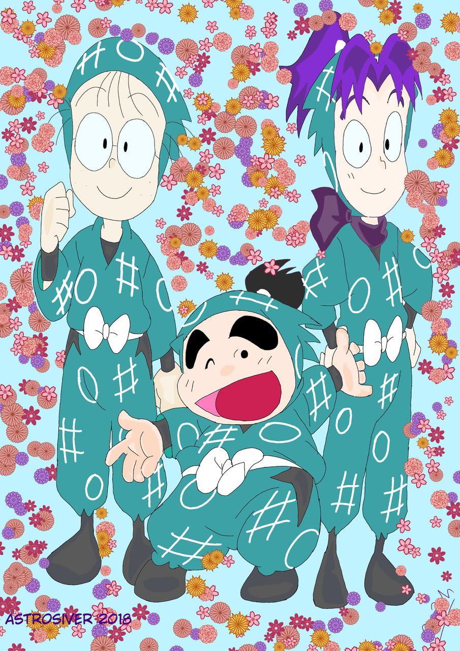 They happy going mission  Illust of astrosiver2018 medibangpaint NintamaRantarō DrawingLessons illustration background oc anime flower ninja boy