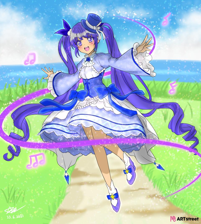 看見大海的少女 Illust of 神祕的星彩star ColoringContest background girl 填色 閃亮亮 cute 訓練背景 開心