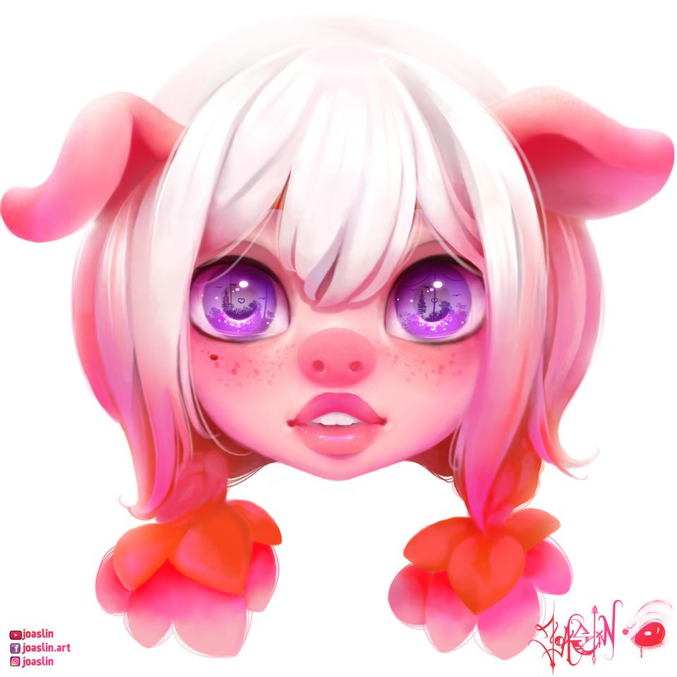 💖🐷💖 Piggie Illust of JoAsLiN ARTstreet_Ranking fanart pig painting cute character illustration girl eyes original pink