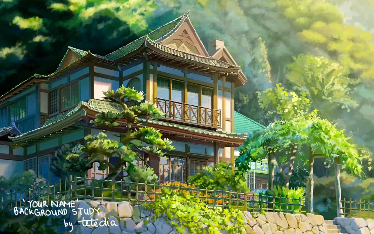 Back ground study Illust of TTNHana tree Japanese_style ttnhana YourName. study animebackground