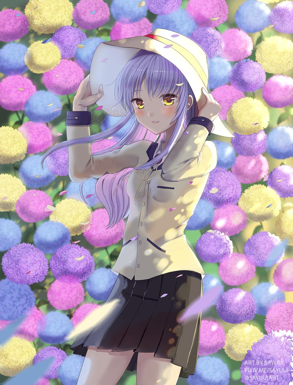 Tachibana Kanade  Illust of Sayuui April2021_Flower hydrangea angel kanade hat flowers AngelBeats! tachibana