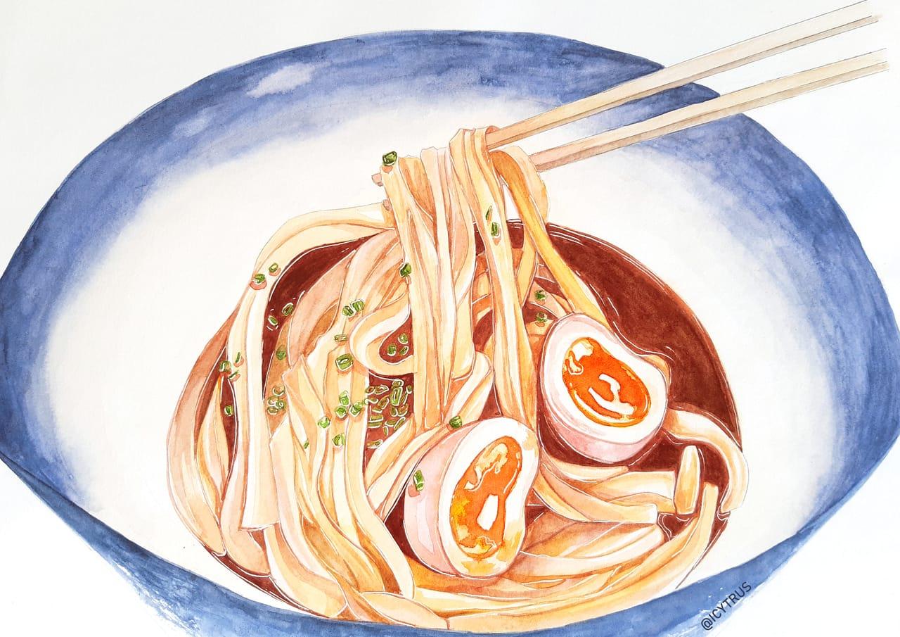 Egg Ramen Illust of aichii October2020_Contest:Food black food watercolor Ramen
