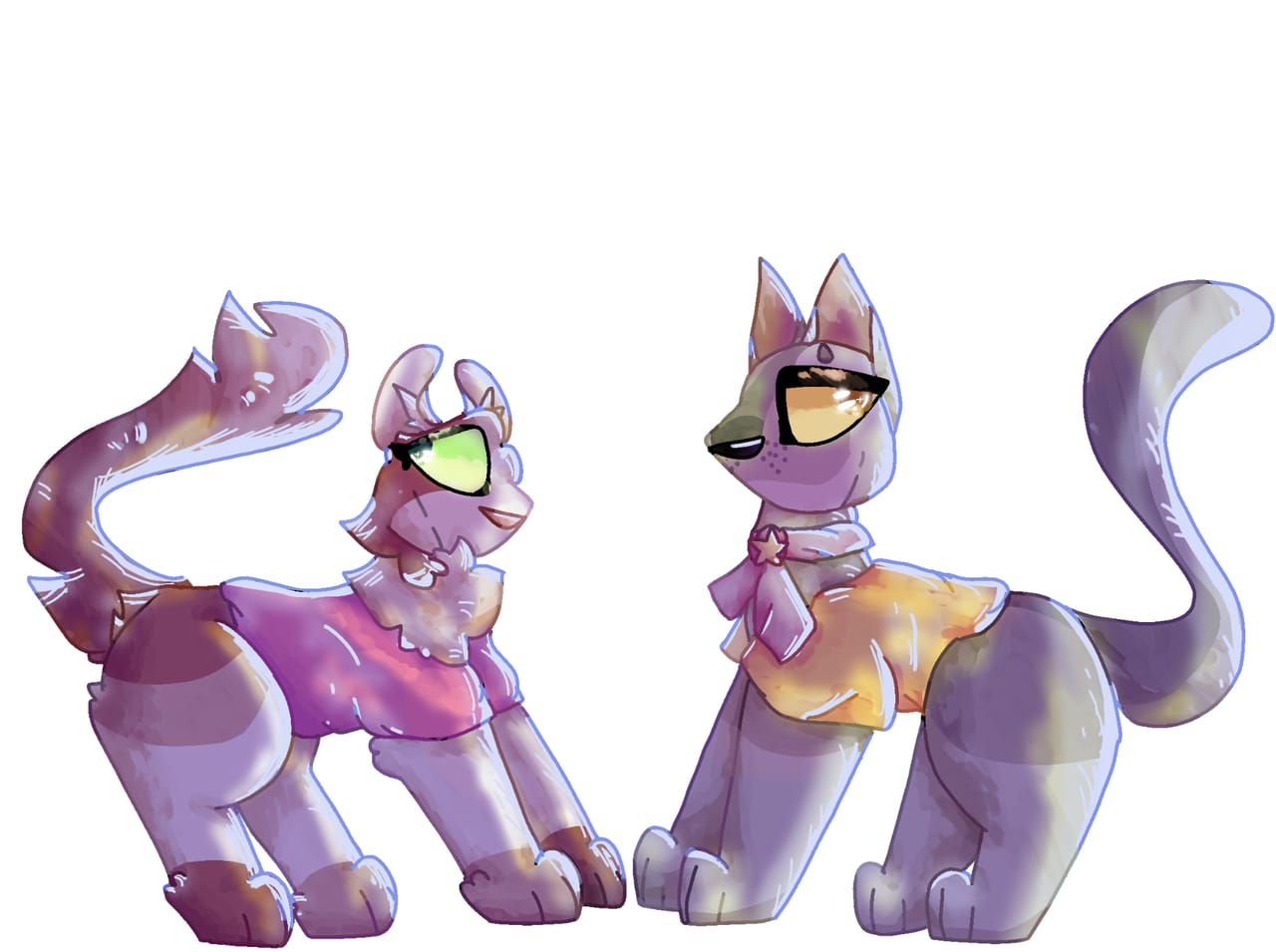My warrior cats ocs CitrusFur and AmberEyes Illust of cat on ø yellow cat white pink warriorcats