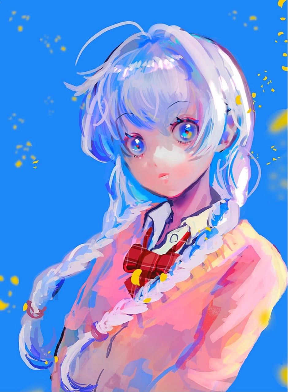 Shades of Blue Illust of 津堂 September2021_Girl girl original
