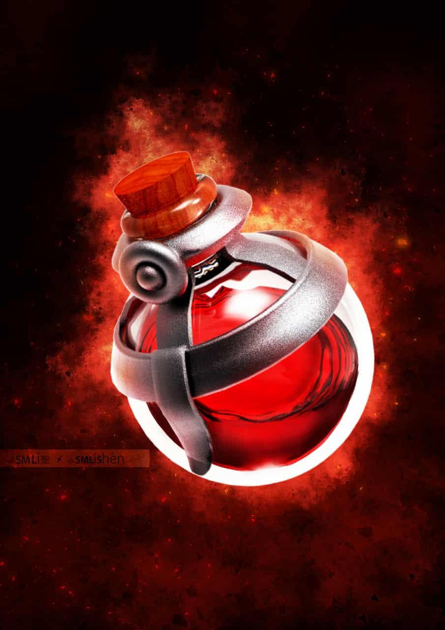 League of Legends Health Potion Model Illust of SMLiShen glass potion red bottle league gaming life health legends LeagueofLegends