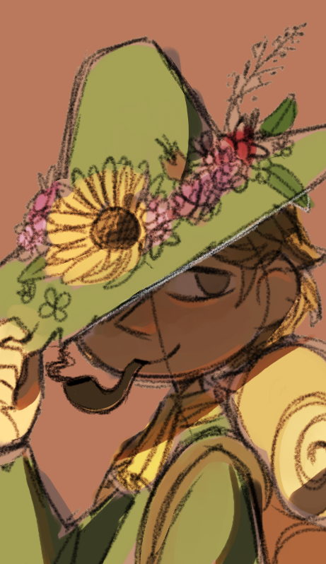 Flower hat (colored sketch)
