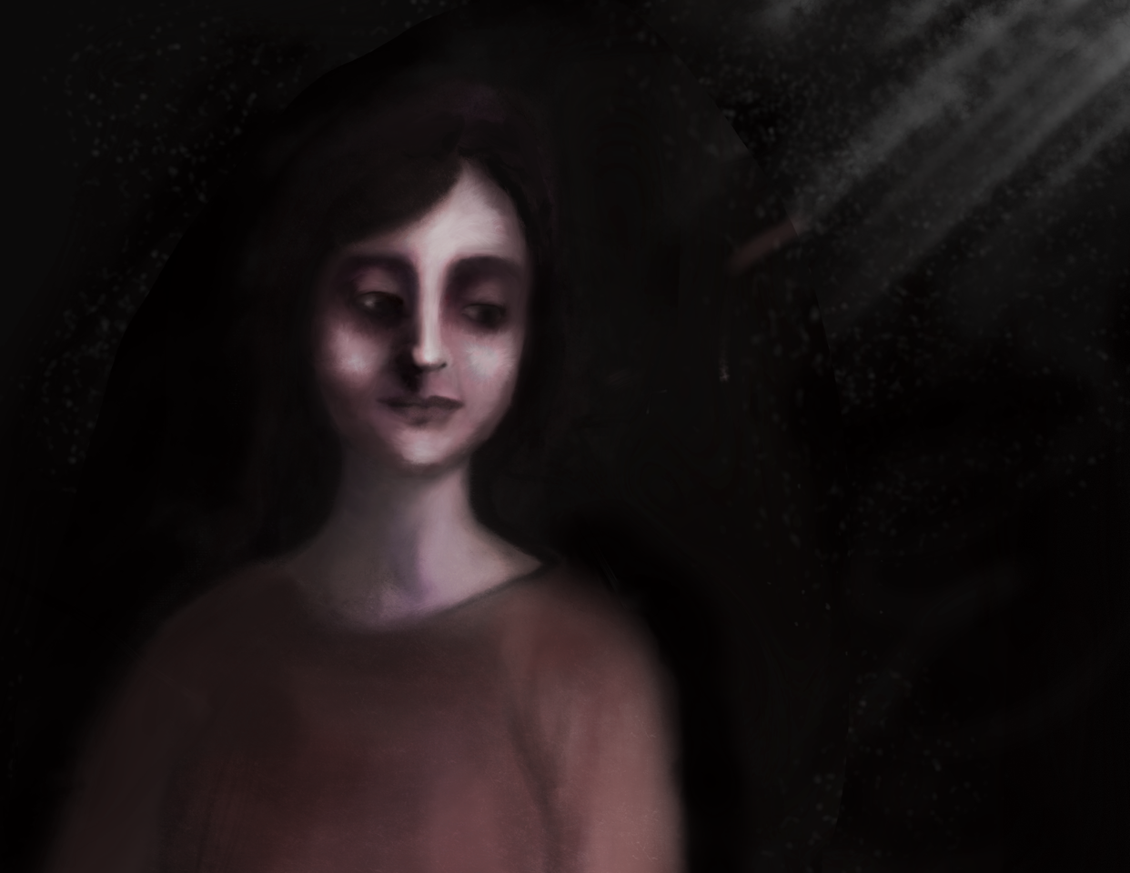 woman smile in the dark Illust of Sunevto August2020_Contest:Horror 暗 dark medibangpaint _ranking Artstreet