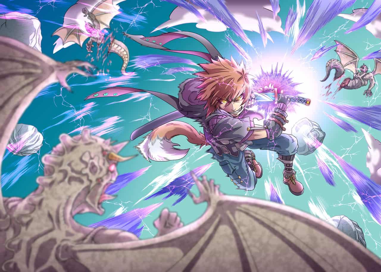 紫電一閃 Illust of なべっち January2021_Contest:OC なべっち 雷 抜刀 空中戦