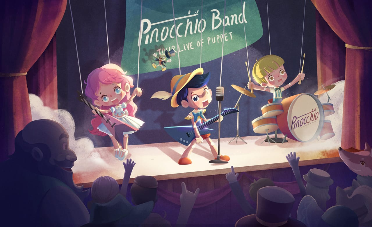 Rock Pinocchio Illust of Arlo ARTstreet_Ranking_Contest cute children's music Pinocchio stage book illustration puppet rock