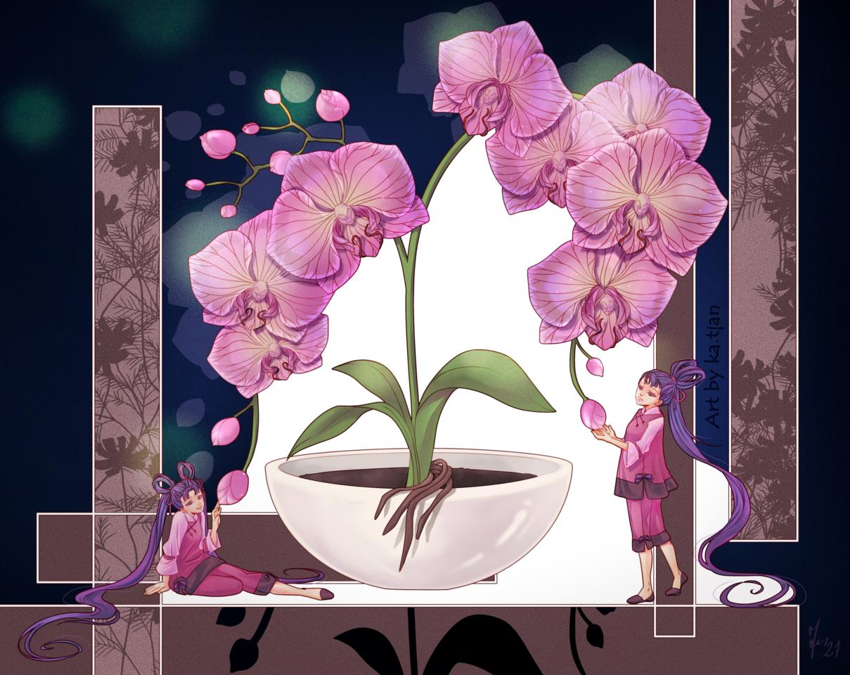 Orchid Illust of ka.tjan April2021_Flower oc pinkhair flower Orchid cute anime mysterious medibang animestyle flowers kawaii