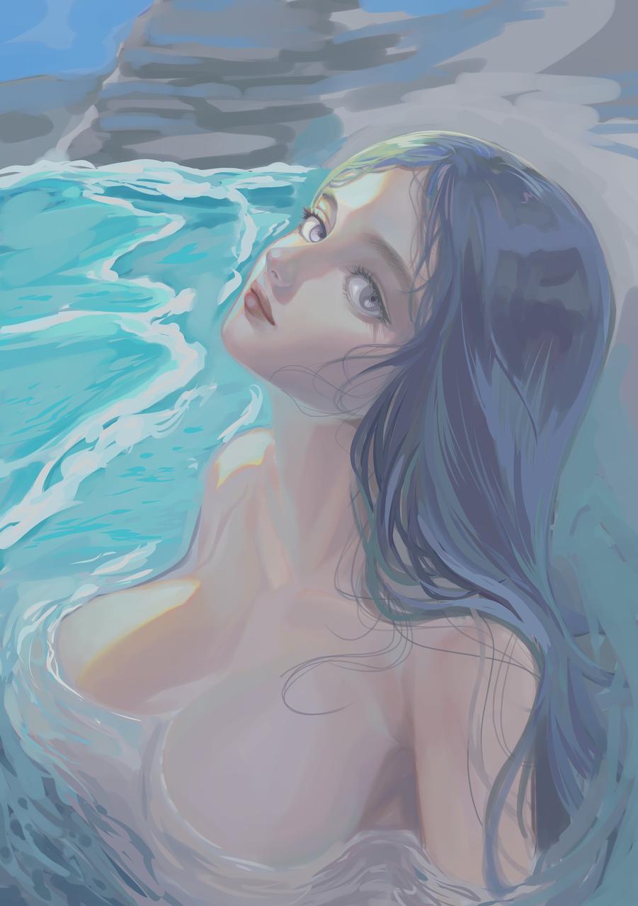 実は人魚 Illust of 97 medibangpaint sea 肌色注意 mermaid 露出