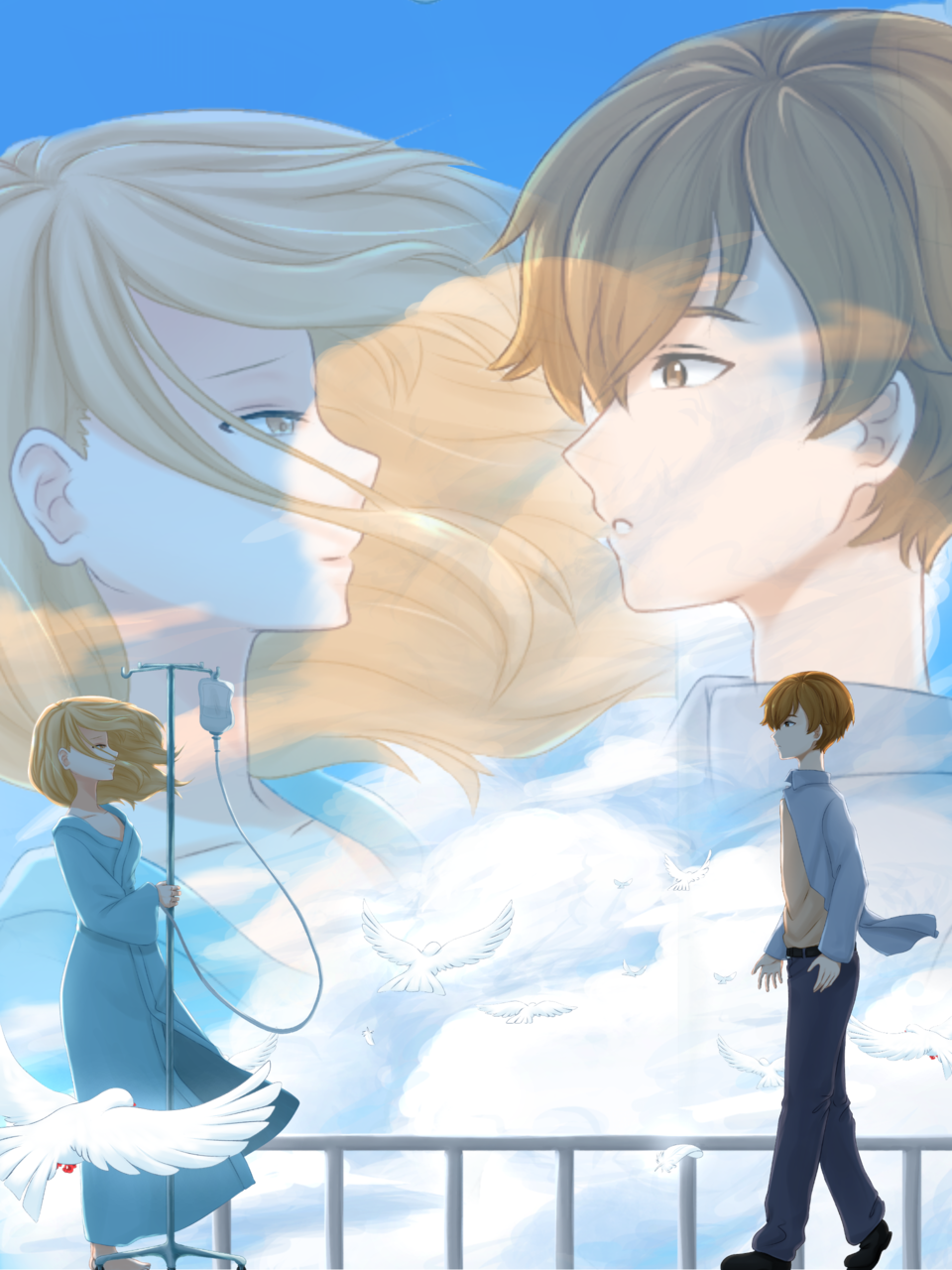 If you were to.... Illust of aruji-kun GOMABOOKS_Contest love sky Anime-girls couple illustration Anime-boys animeart