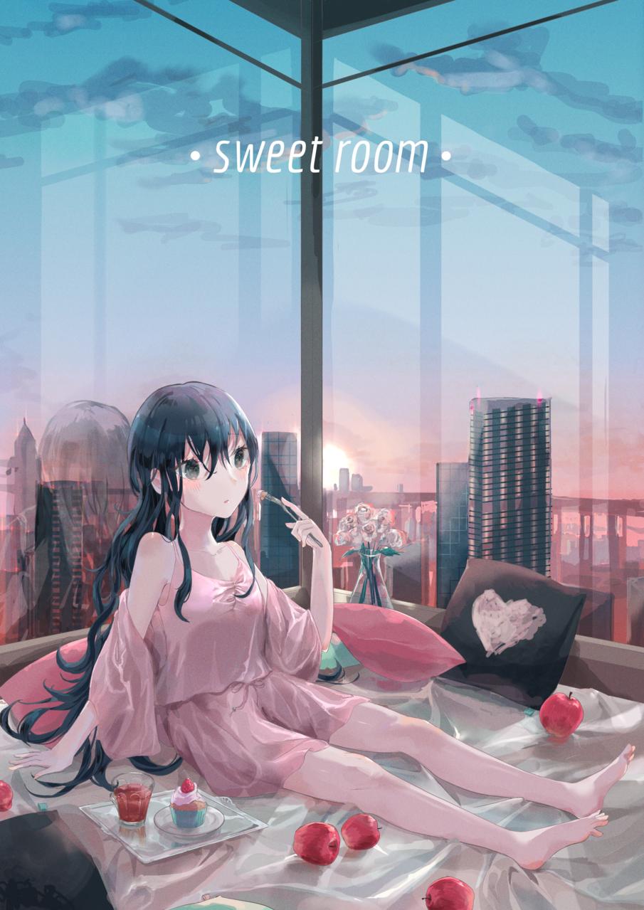 スイートルーム Illust of ねおん* illustration 黒髪 city pink sky original