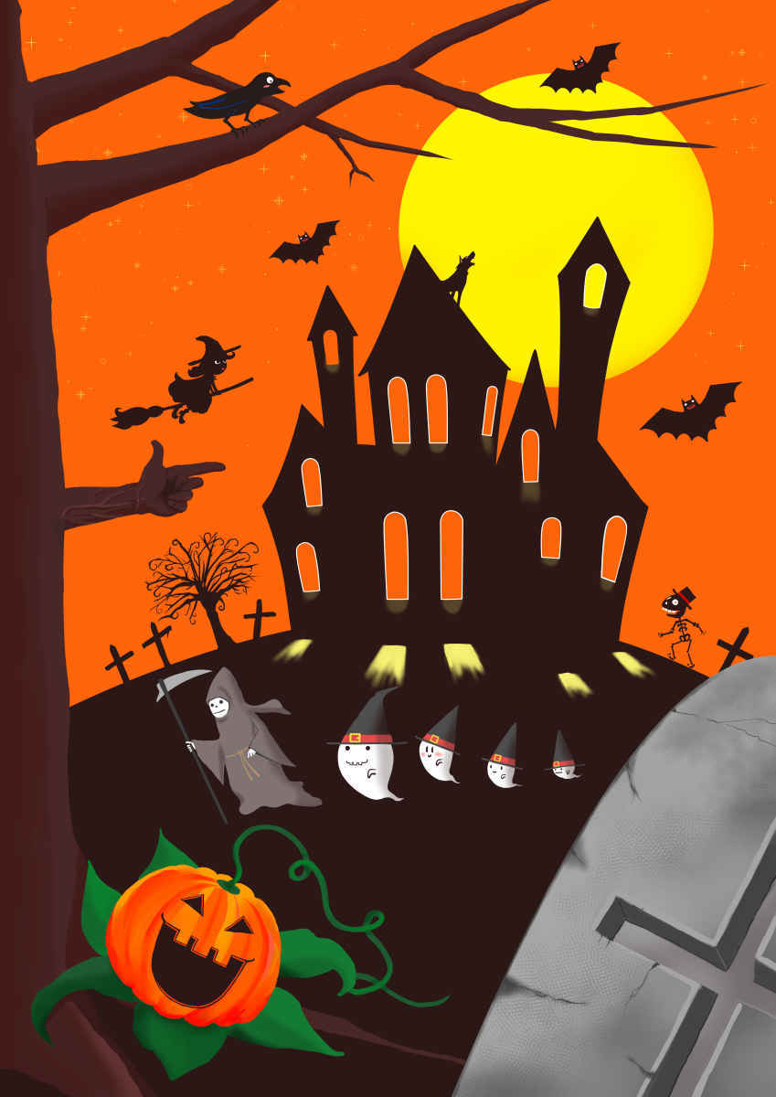ハロウィーン5 Illust of beach st お化け お城 witch カボチャ コウモリ original 死神 パンプキン 満月 Halloween
