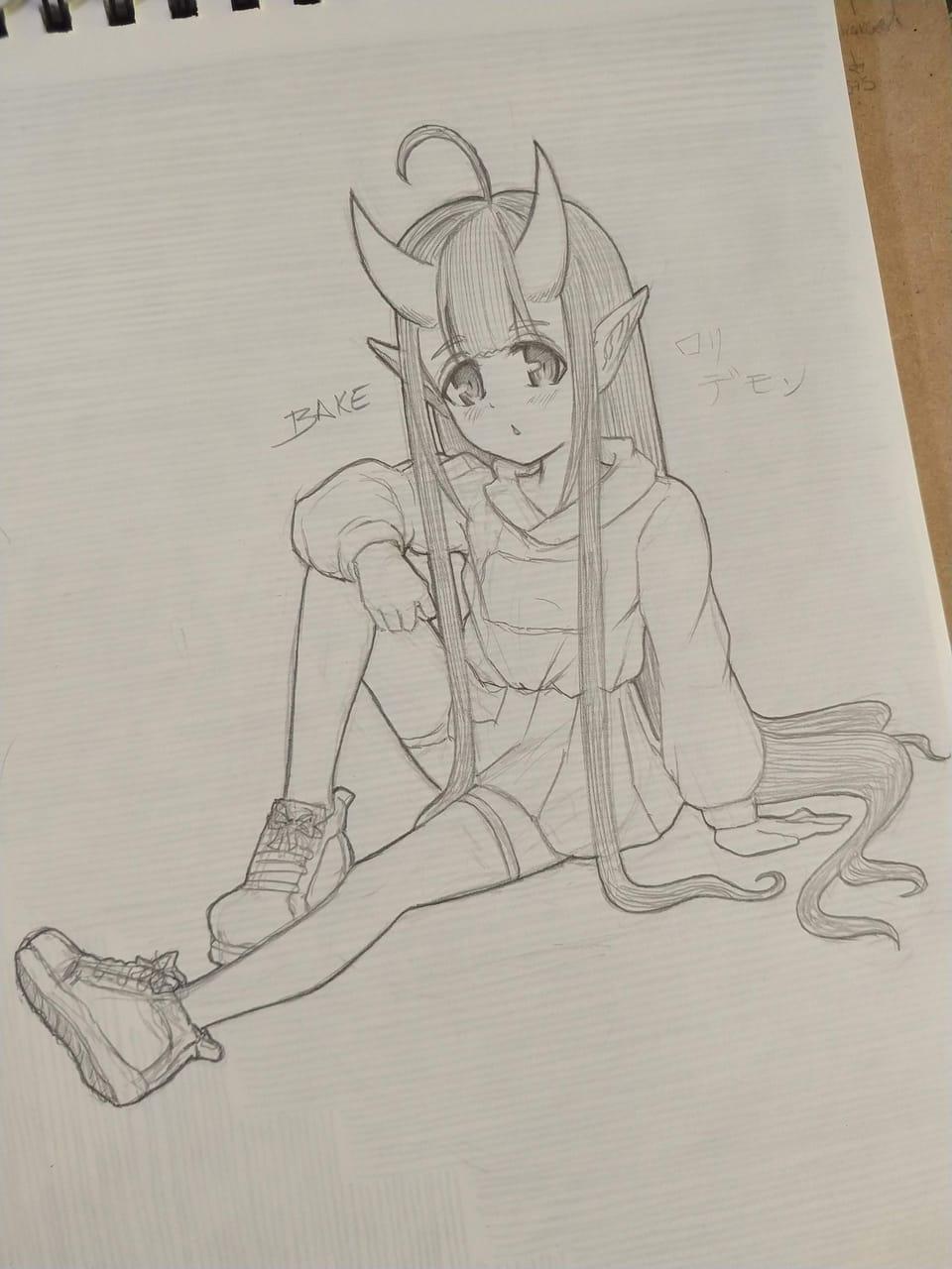 Loli demon  Illust of Bakemono kawaii girl hair monster oc AnalogDrawing loli