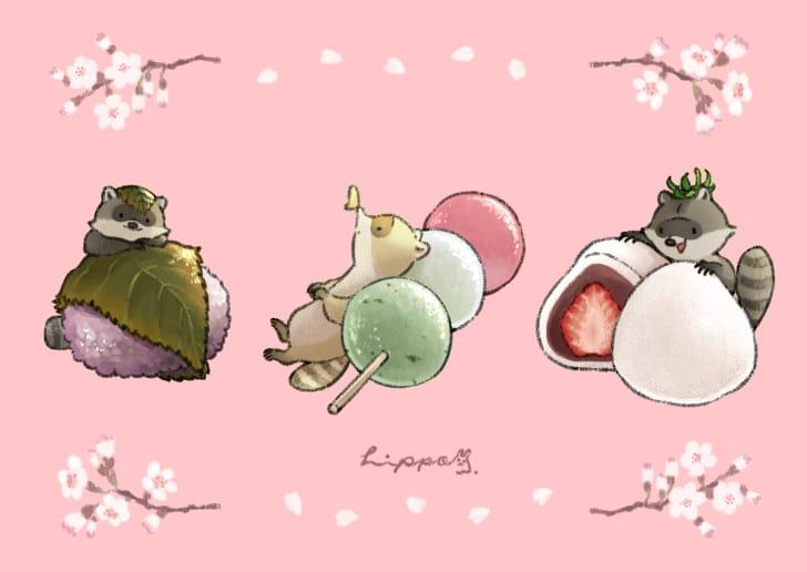 春の和菓子とアライグマ Illust of ヒポポンゴ 春 animal Raccoon 和菓子 oc sakura 桜餅 food