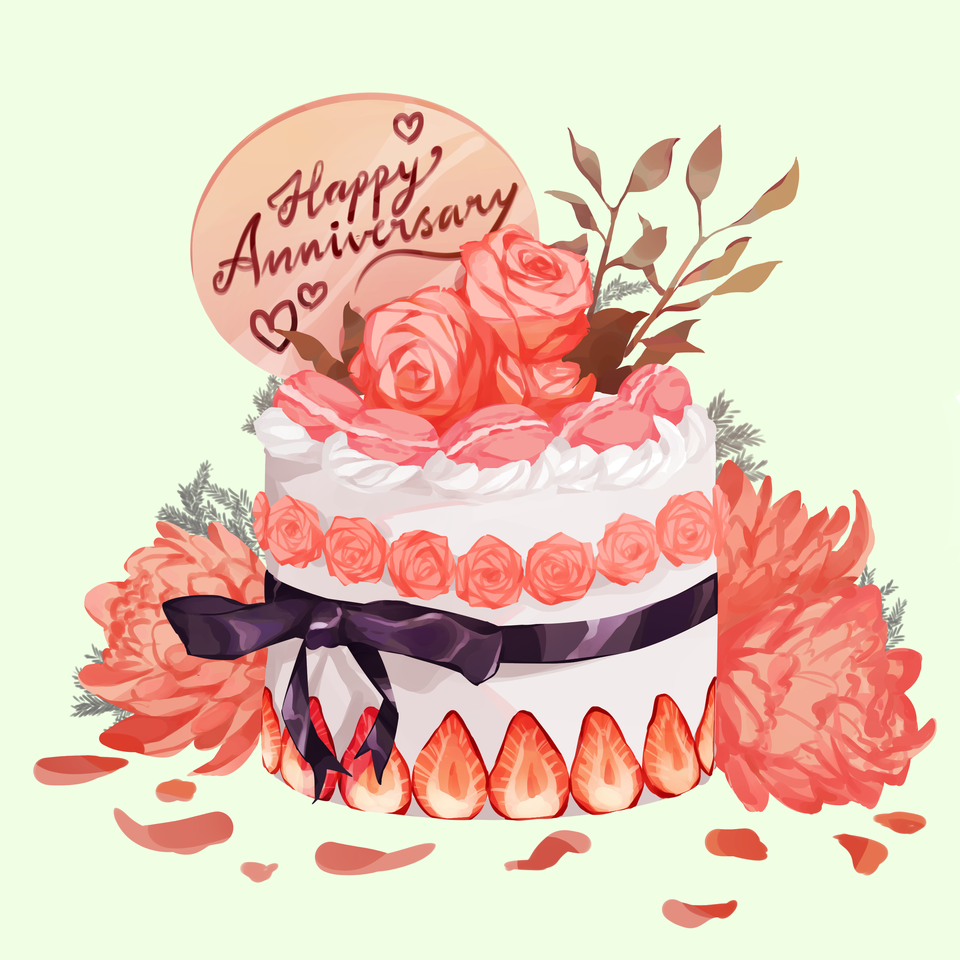 Happy anniversary art street!! Illust of Mumechi July2020_Contest:Anniversary illustration painting paintings cuteboy art drawing cute\ Cakes cute