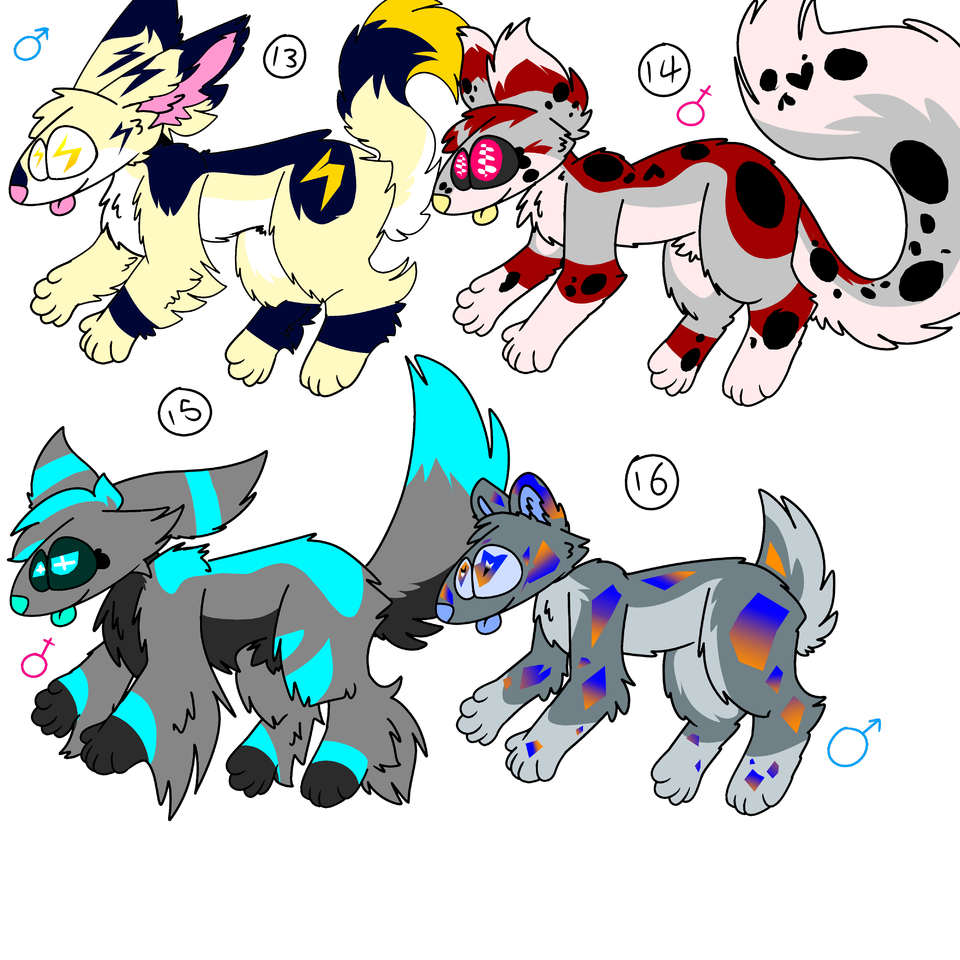 Big Batch Of Adopts! (Closed) Illust of ❄Ash❄ oc dog fuzzy adopts furry cute Floofy Doggo Adopt