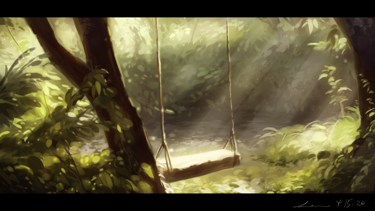 木漏れ日 Illust of 星灯れぬ 木漏れ日 forest 風景画 green impasto ブランコ scenery