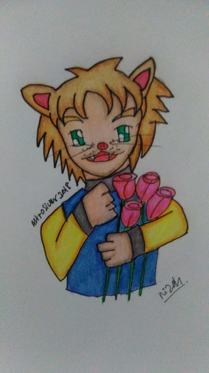 He happy give someone flower Illust of astrosiver2018 MySecretSocietyContest April2021_Flower March2021_Creature cat_ears