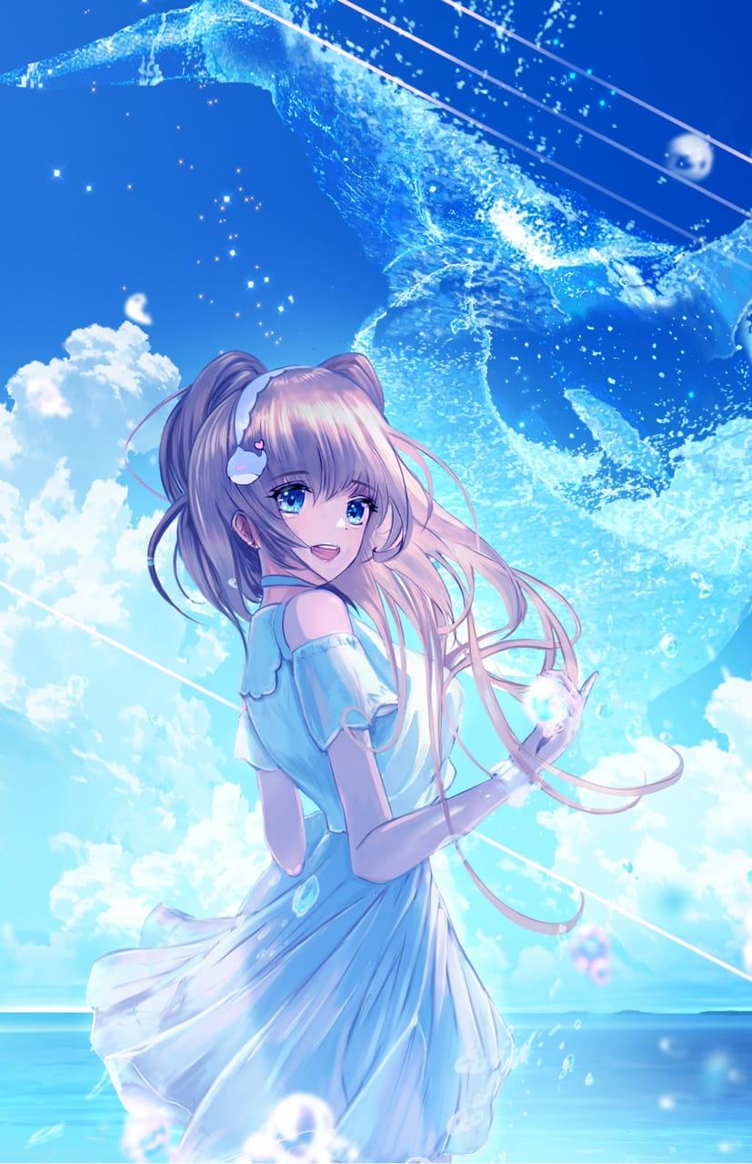 終りたくない夏 Illust of まころん☆ 第1回raytrek×Medibang創作イラストコンテスト September2021_Girl twin_ponytails girl animal scenery oc sky background illustration
