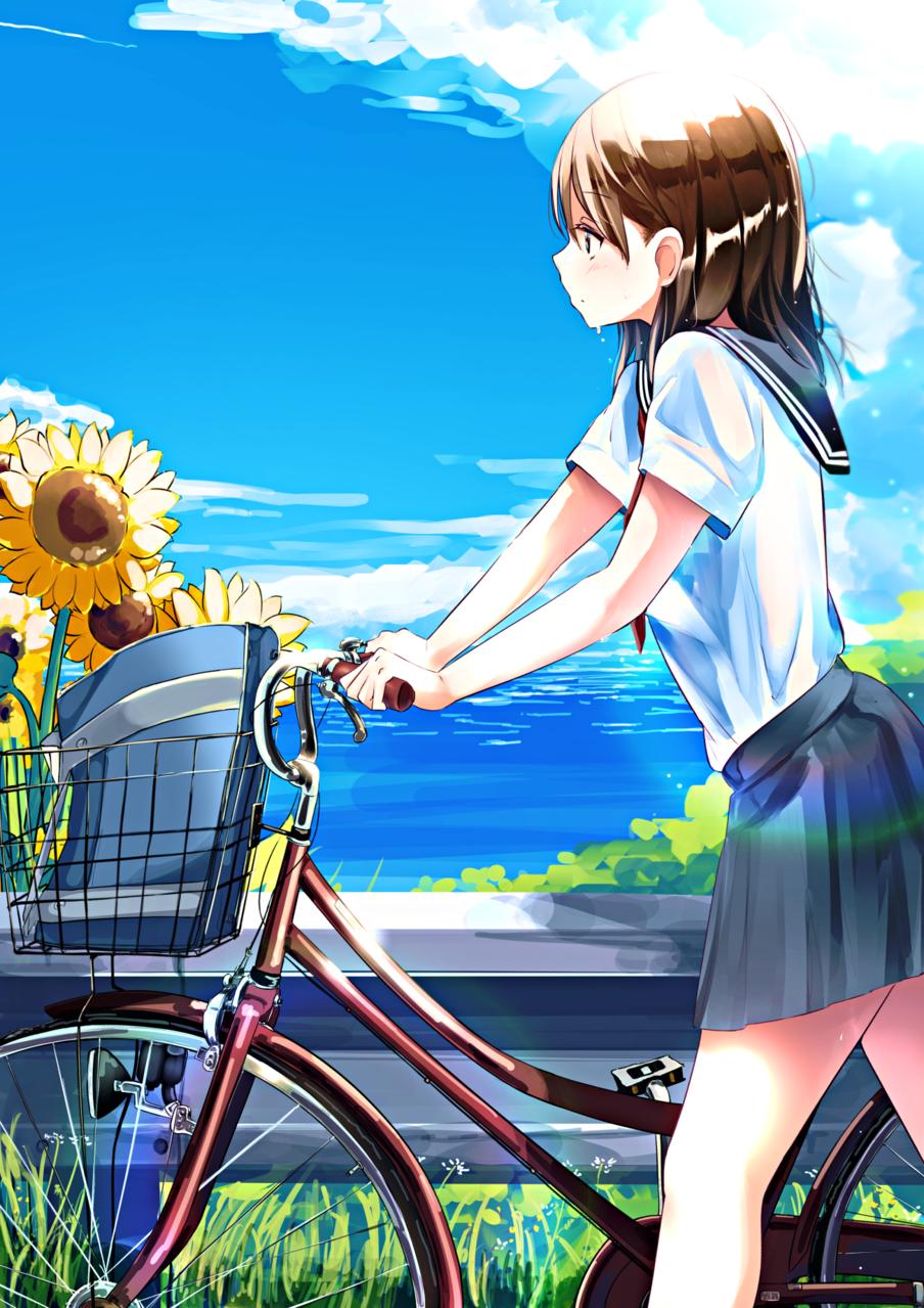 チャリパンク Illust of あやがたひまり bike original sailor_uniform