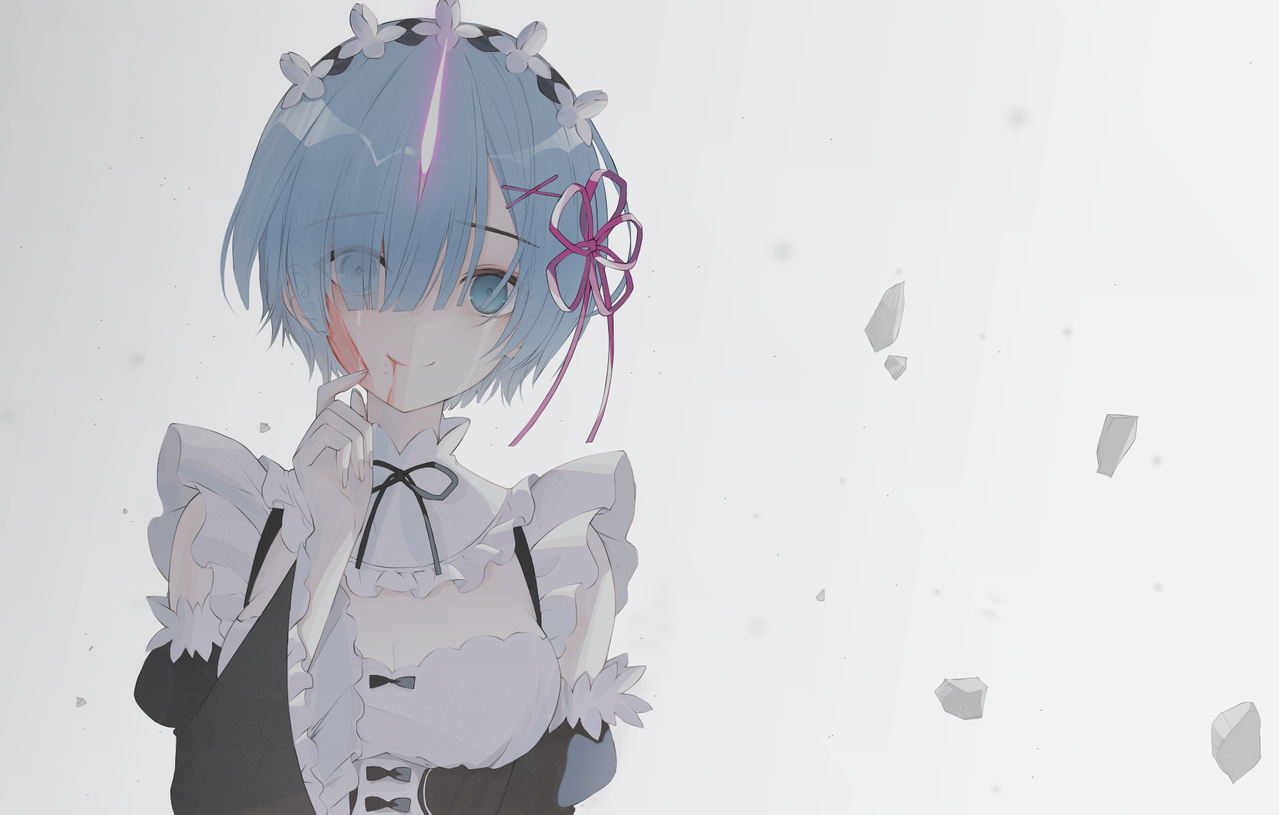 て Illust of SOUZE medibangpaint Re:Zero girl 鬼化 Rem 狂战士 拉姆