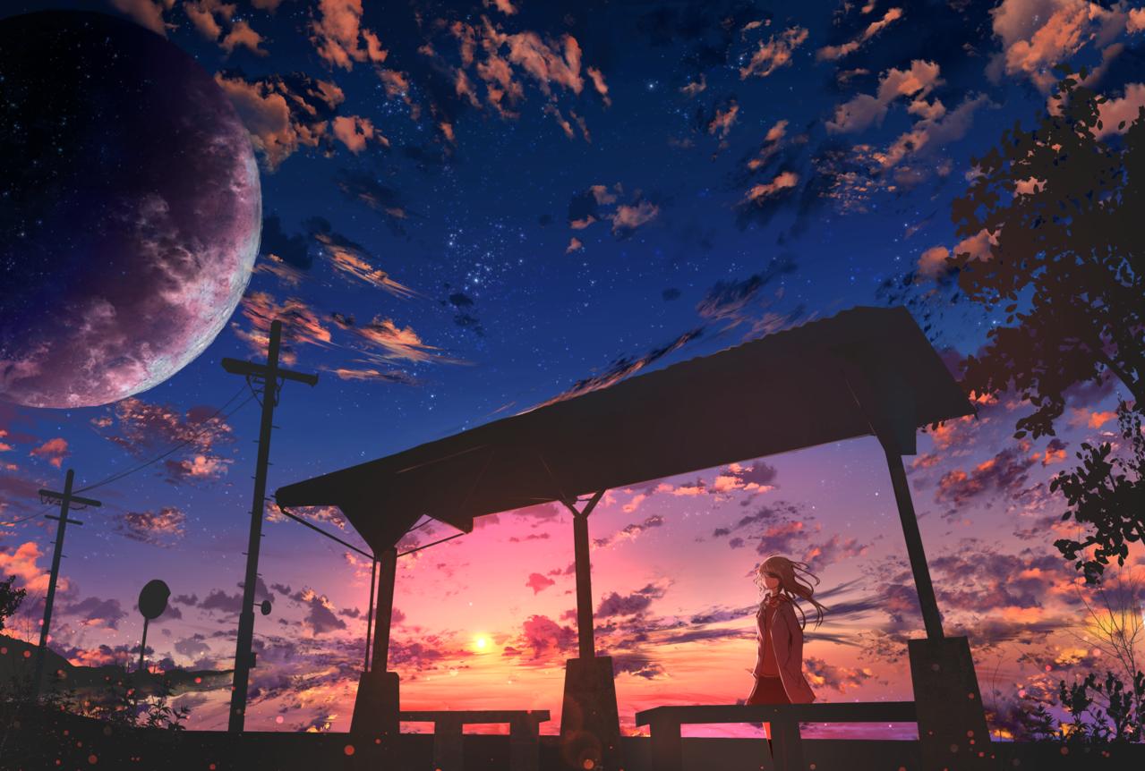 田舎 Illust of ツチヤ sea moon sunset starry_sky