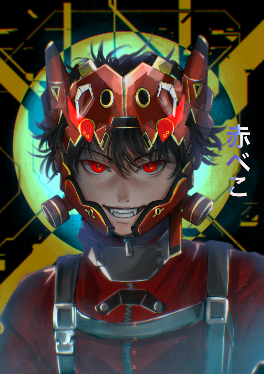 赤べこ RED OX 2021 Illust of horoharo January2021_Contest:OC cyberpunk akabeko original 2021 boys oc horoharo 赤べこ techwear