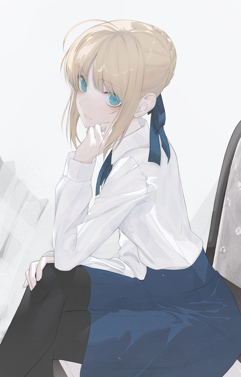 来自于sbaer的注视 Illust of SOUZE medibangpaint Fate blonde 坐姿 便服 Fate/GrandOrder 蓝眼 saber