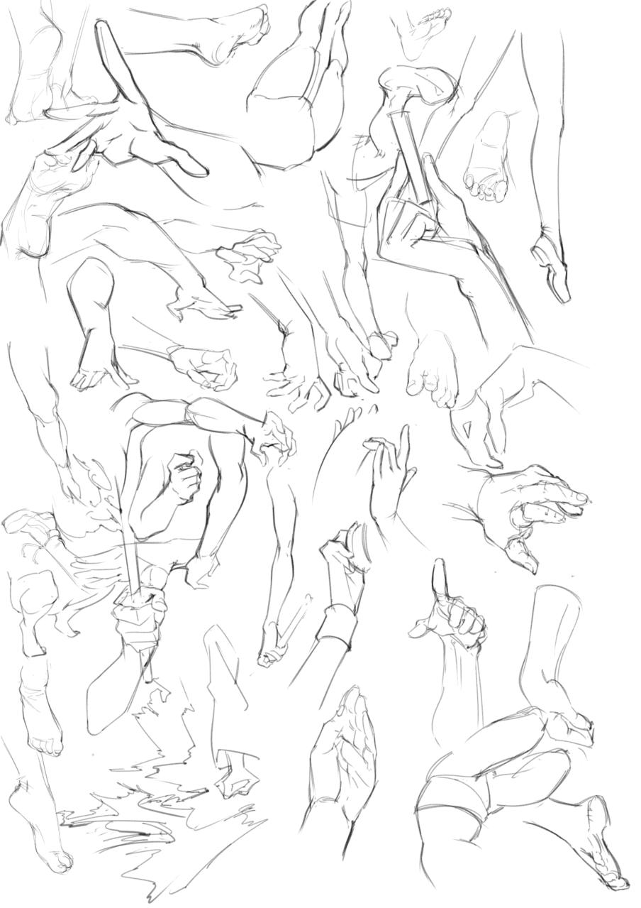 2月24日人体结构练习打卡 Illust of b站cm羊 medibangpaint 足 人体线稿 hand line_art 动态 人体