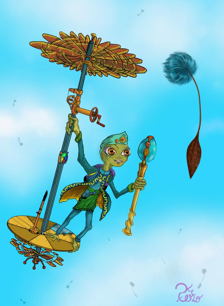 Thua, el explorador Illust of ♡예카♡ January2021_Contest:OC March2021_Creature steampunk 삽화 sky Rana Frog Happy illustration personajeoriginal 개구리 flying