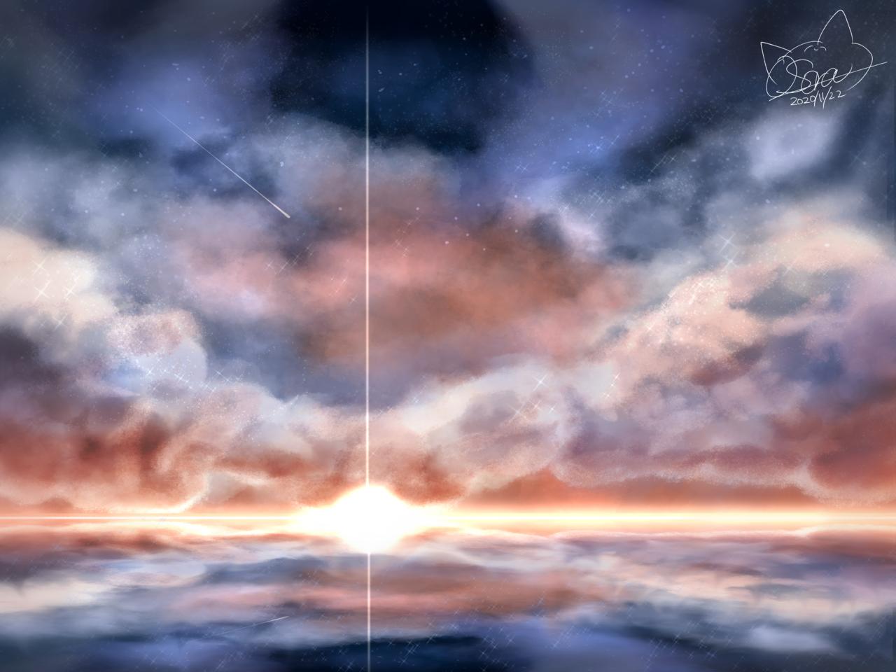 太陽 Illust of OSora sunset 朝焼け scenery medibangpaint