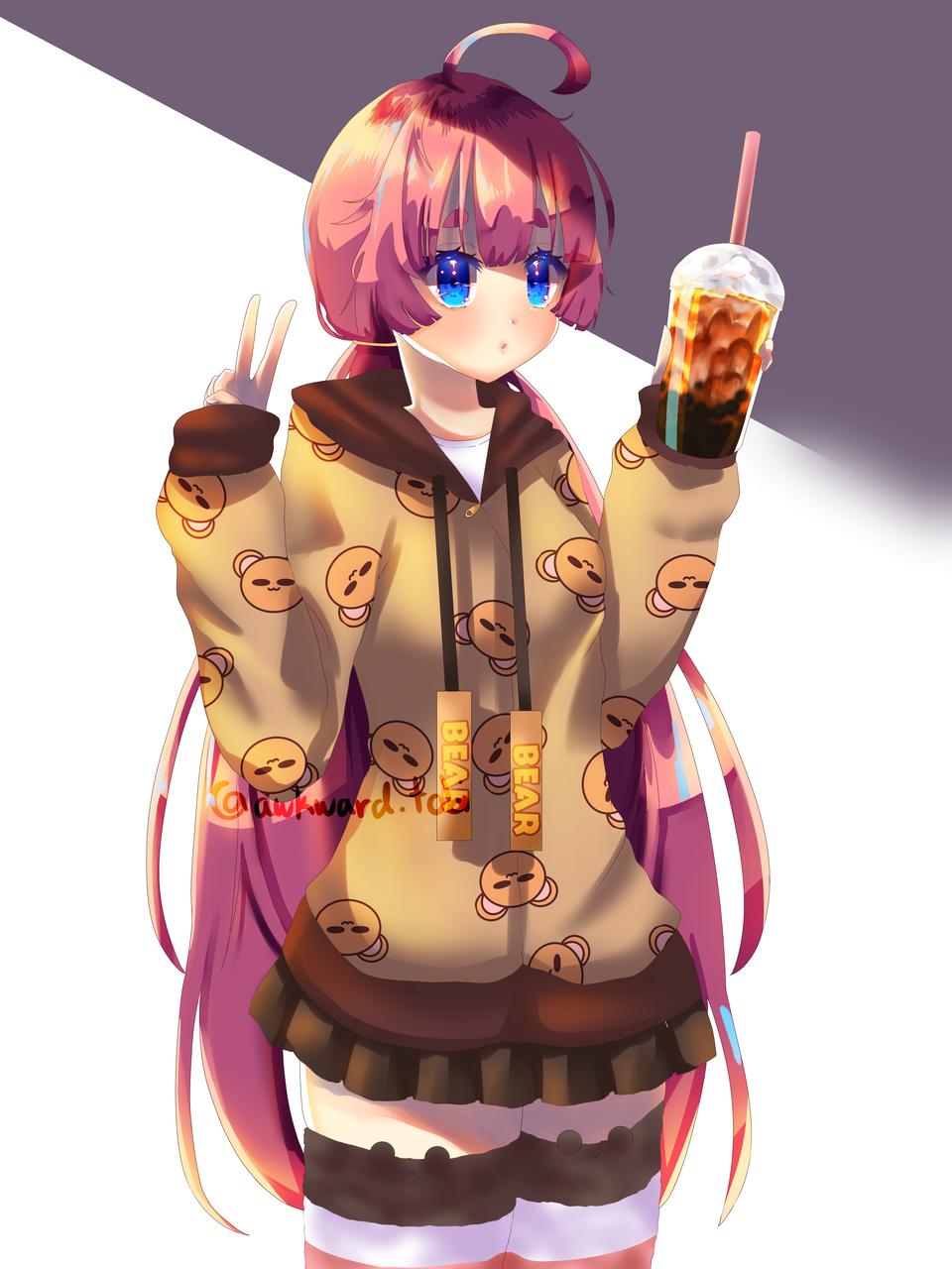Standing Illust of AwkwardTobi January2021_Contest:OC bear illustration bubbletea eating kawaii anime milktea boba food