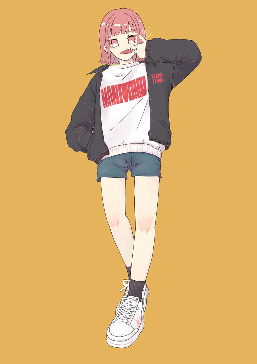 白地赤プリント Illust of まにとむ original girl illustration