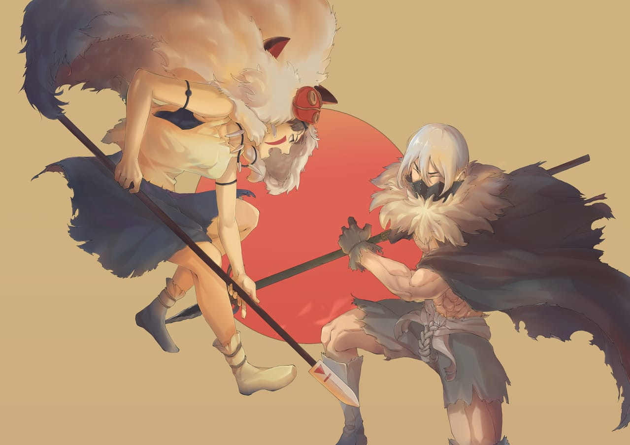 Ghibli world vs Stone world Illust of 桑尼Huang 宮崎駿 GHIBLI 新石紀 Boichi 魔法公主 もののけ姫 稻垣理一郎 Dr.STONE MononokeHime