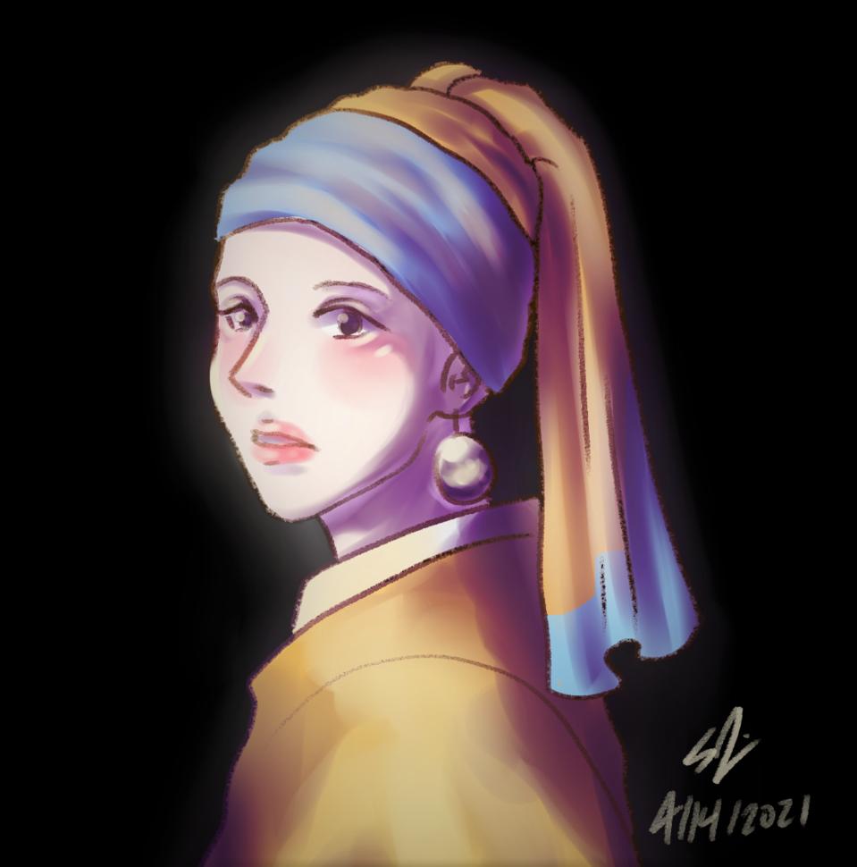 Girl with a Pearl Earring by Johannes Vermeer Illust of Animeartforfun MasterpieceFanart portrait fanart digital