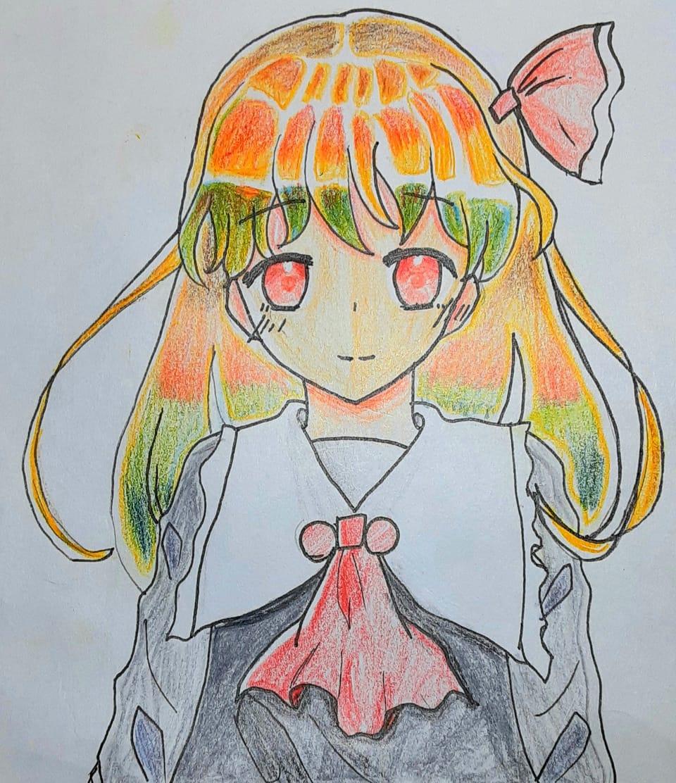 色鉛筆でルーミア描いてみた Illust of ☆やかん☆ 小5 アナログ coloredpencil ルーミア girl 本気
