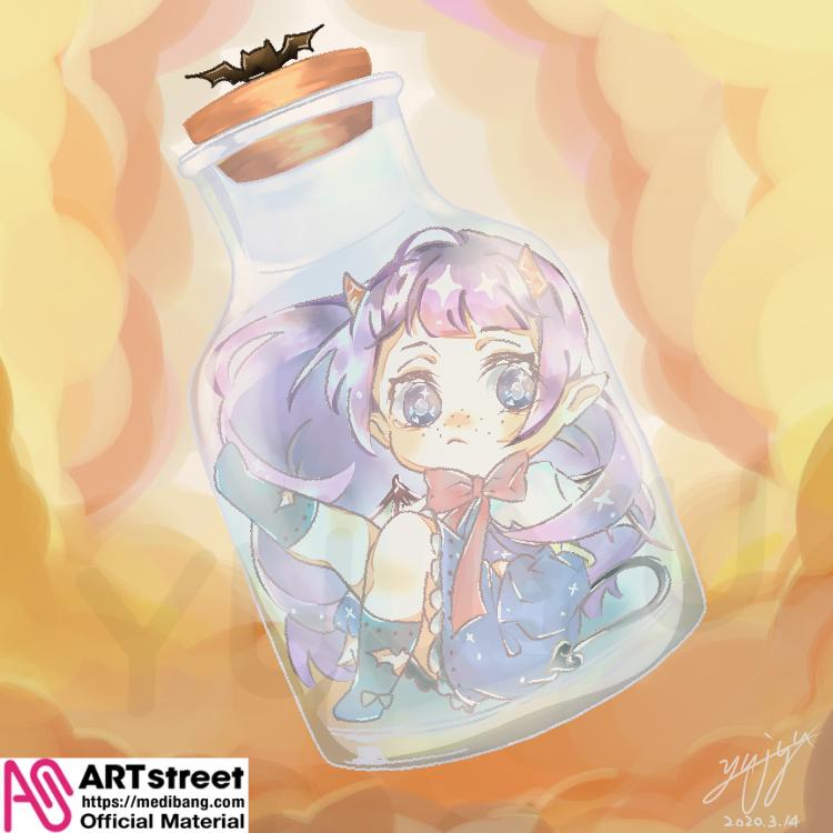 瓶中的小惡魔 Illust of 禹九 tracedrawing Trace&Draw【Official】 瓶 original 小惡魔 clouds