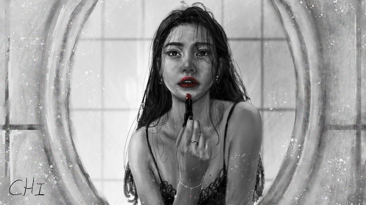 Lipstick Illust of CHI-NAI May2021_Monochrome illustration girl hair eyes woman female beautiful 黑白