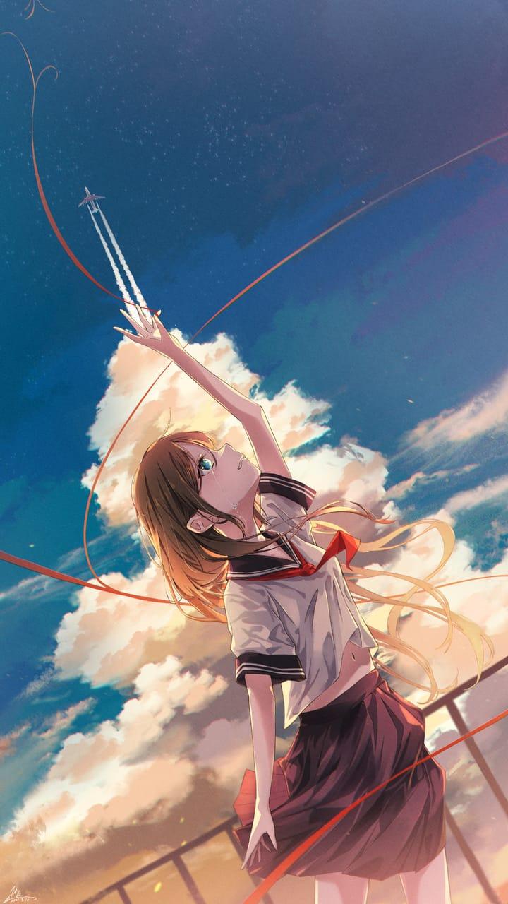 行かないで Illust of 代々 September2021_Girl uniform girl kawaii sky summer background original