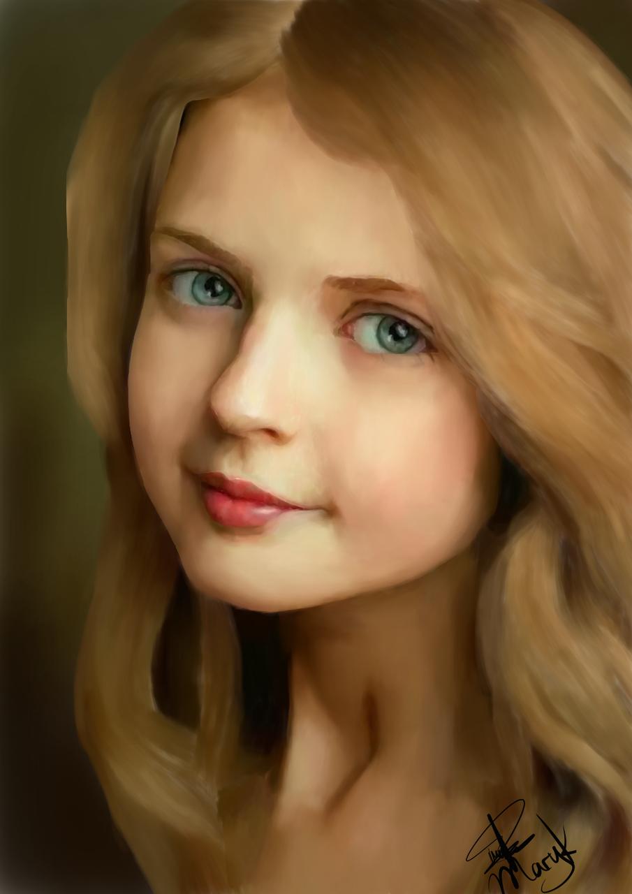 Blonde Girl's Portrait (made on Medibang Paint)  Illust of CJustMe medibangpaint blonde aesthetic girl pretty portrait originalpainting cute blueeyes realistic smile