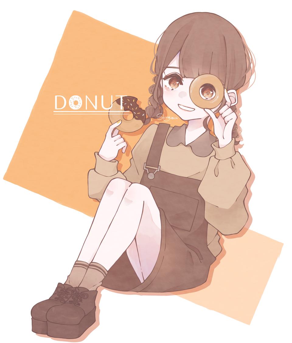 🍩💛 Illust of しろなち original girl medibangpaint illustration donut
