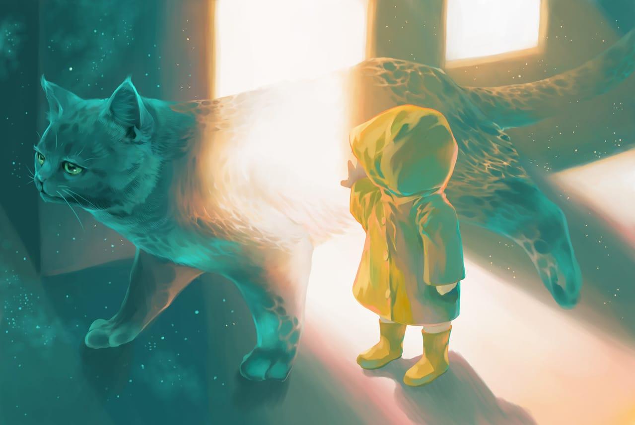 暗がりに棲む( Dweller in the Dark) Illust of 砂虫隼 March2021_Creature cat_ears 生き物 animal monster medibangpaint cat star oc original