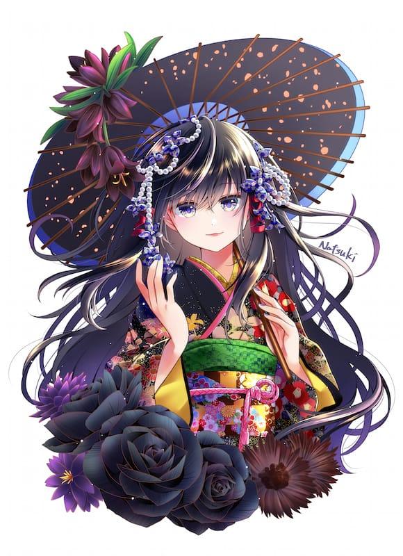百花繚乱ー墨ー Illust of 能勢ナツキ April2021_Flower girl Japanese_style oc 和風ファンタジー kimono kawaii original