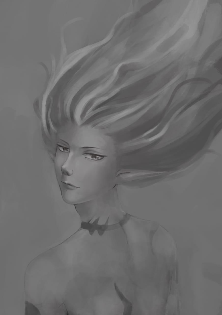 炎 Illust of Rita May2021_Monochrome
