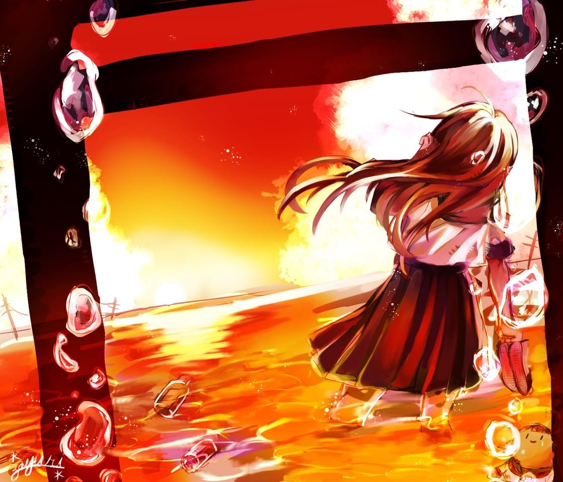 岬の向こう。 Illust of fayuri * oc girl sunset sea original sailor_uniform water