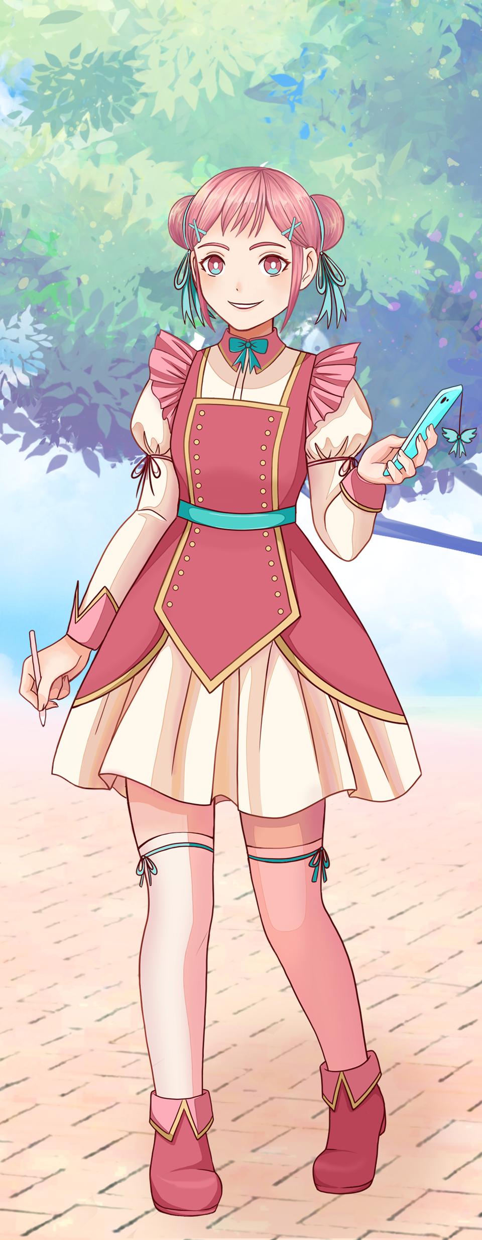 Pink Girl Pastel Sketch Illust of Shurmmi & Izni PASTEL_SKETCH2020 pastel girl